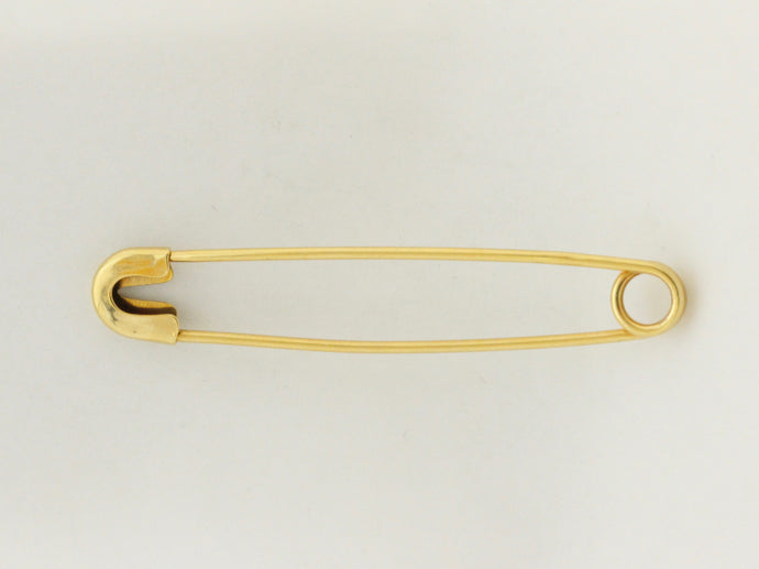 Vintage 18K Gold Safety Pin Brooch or Chain Extender or Charm Holder - alpha-omega-jewelry