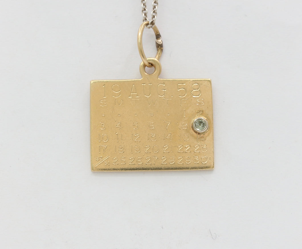 Vintage 14K Gold Calendar Birthday Charm August 9 Pendant