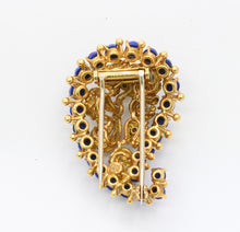 Load image into Gallery viewer, Vintage 18K Gold Lapis Lazuli and Emerald Paisley Brooch Clip