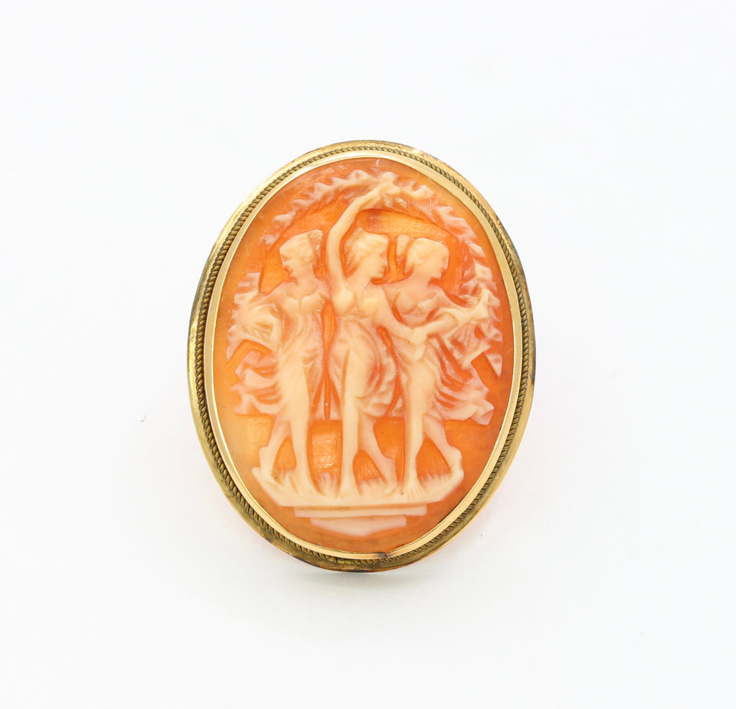 Vintage 14K Gold Three Graces Shell Cameo Brooch Pendant
