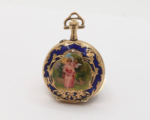 Swiss Enamel Cherub Cupid Portrait 14K Gold Diamond Pocket Watch - alpha-omega-jewelry