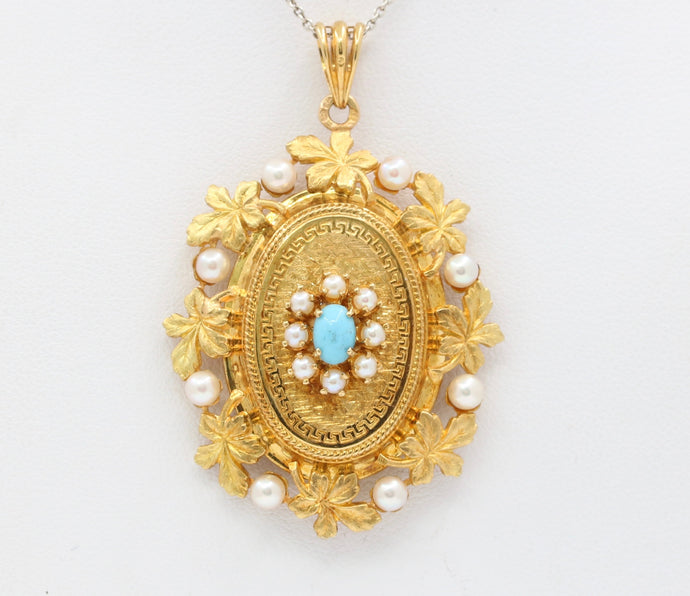 Vintage French 18K Gold Turquoise and Pearl Locket Pendant