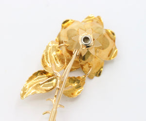 Vintage 18K Gold and Diamond Flower Brooch Pin