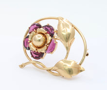 Load image into Gallery viewer, Vintage 14K Gold and Rhodolite Garnet Flower Brooch Pin