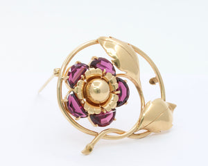 Vintage 14K Gold and Rhodolite Garnet Flower Brooch Pin