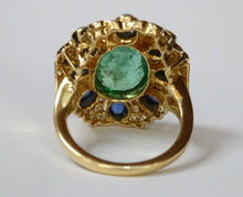 Load image into Gallery viewer, Large 4.5 Carat Emerald, Diamond, and Sapphire 18K Gold Cocktail Ring