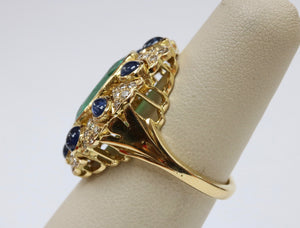 Large 4.5 Carat Emerald, Diamond, and Sapphire 18K Gold Cocktail Ring