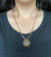 Load image into Gallery viewer, Vintage 18K Gold and Moonstone Abstract Sunburst Pendant Brooch