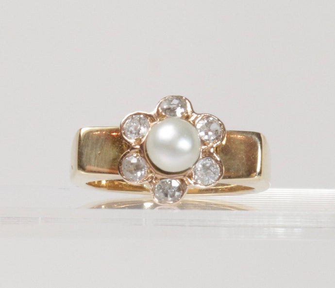Vintage Button Pearl and Old Mine Cut Diamond 18K Gold Ring