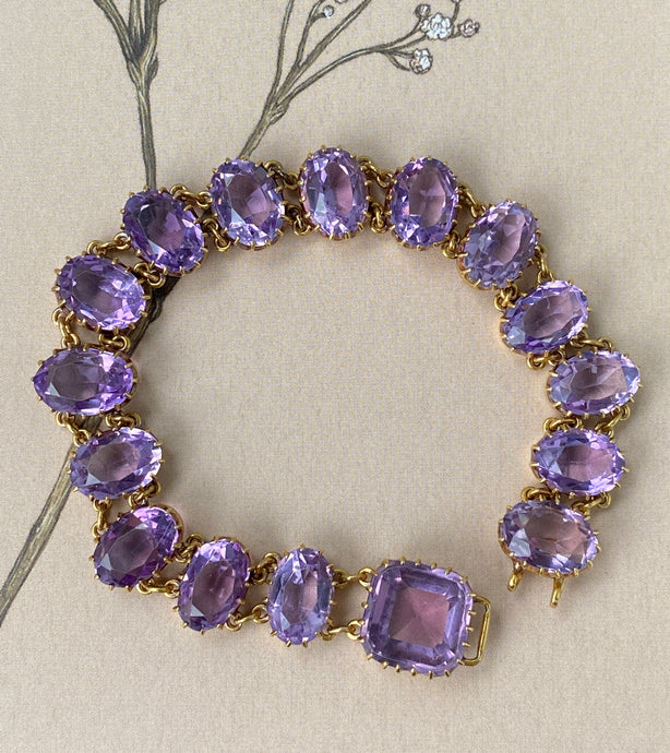 Victorian 46 Carat Rose De France Amethyst and 18K Gold Bracelet