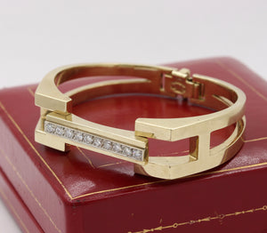 Heavy 1970s La Triomphe 1.75 Carat Diamond and 14K Gold Bangle Bracelet - alpha-omega-jewelry