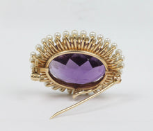 Load image into Gallery viewer, Art Nouveau Krementz Amethyst and Natural Seed Pearl 14K Gold Pendant Pin - alpha-omega-jewelry