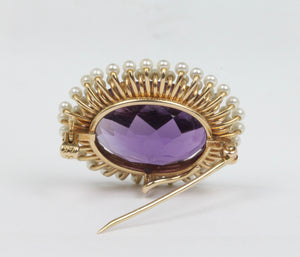 Art Nouveau Krementz Amethyst and Natural Seed Pearl 14K Gold Pendant Pin - alpha-omega-jewelry