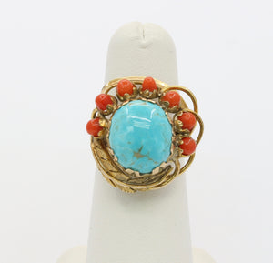 Vintage Native American Turquoise and Coral Feather Motif 14K Gold Ring