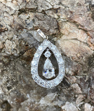 Load image into Gallery viewer, Vintage Platinum and 2.18 Carat Diamond Drop Dangle Pendant