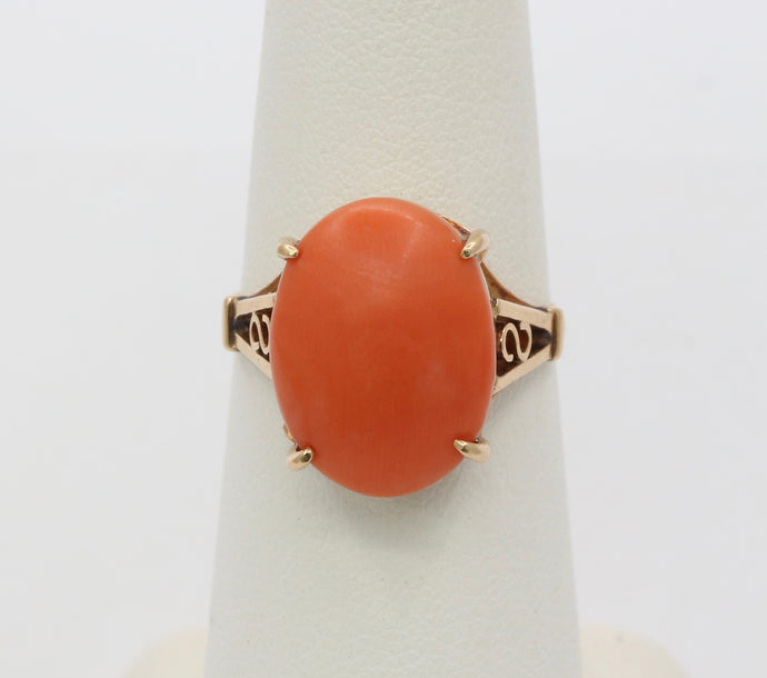 Vintage 14K Gold Natural Coral Solitaire Ring