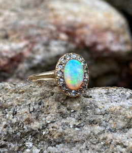 Victorian Australian Opal and Rose Cut Diamond Halo 14K Gold Ring