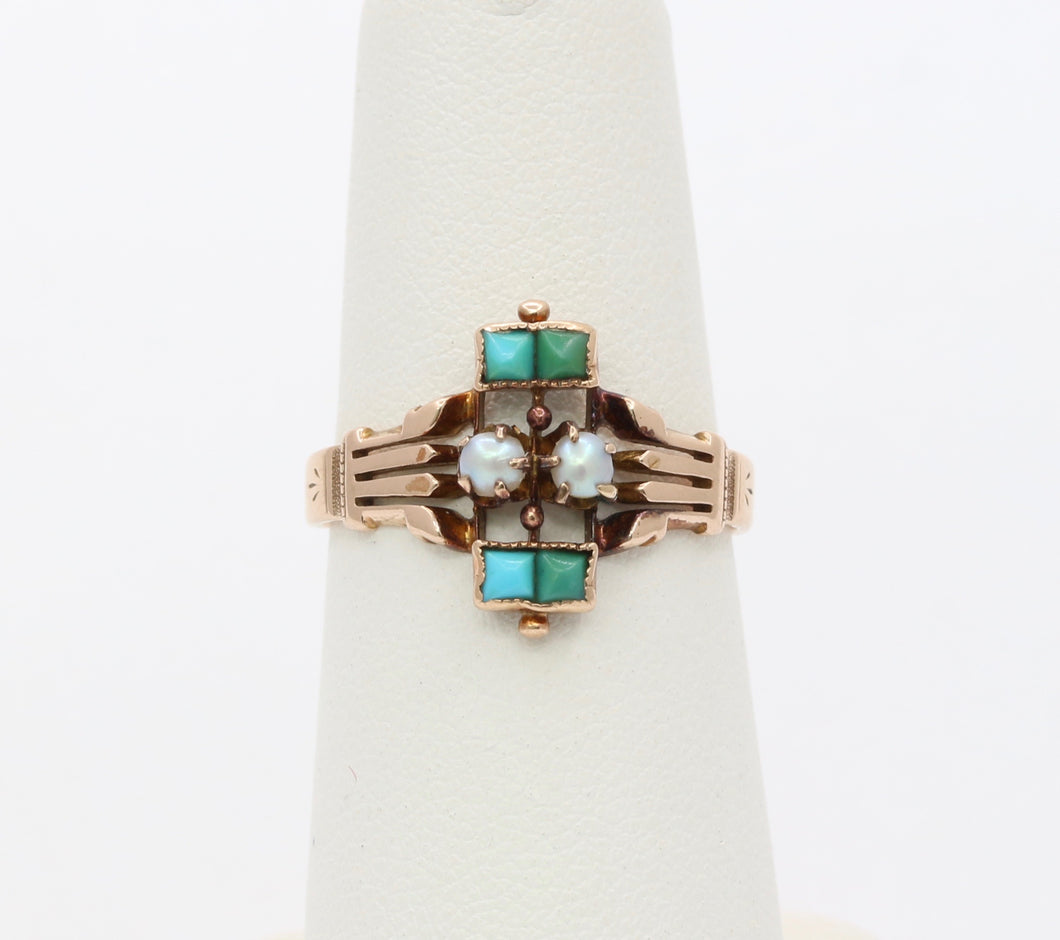 Victorian 14K Gold Turquoise and Pearl Ring
