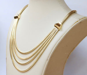 Vintage 14K Gold Layered Festoon Tubogas Style Necklace Chain