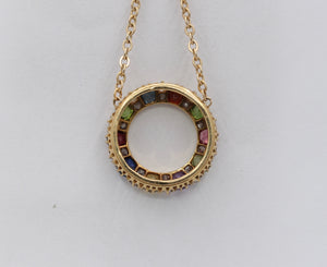 Victorian Harlequin 18K Gold Diamond and Gemstone Circle Pendant Necklace - alpha-omega-jewelry