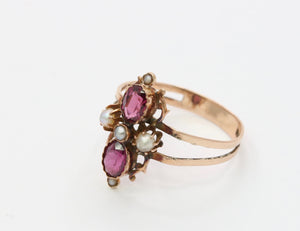 Victorian 14K Gold Rhodolite Garnet and Split Pearl Ring