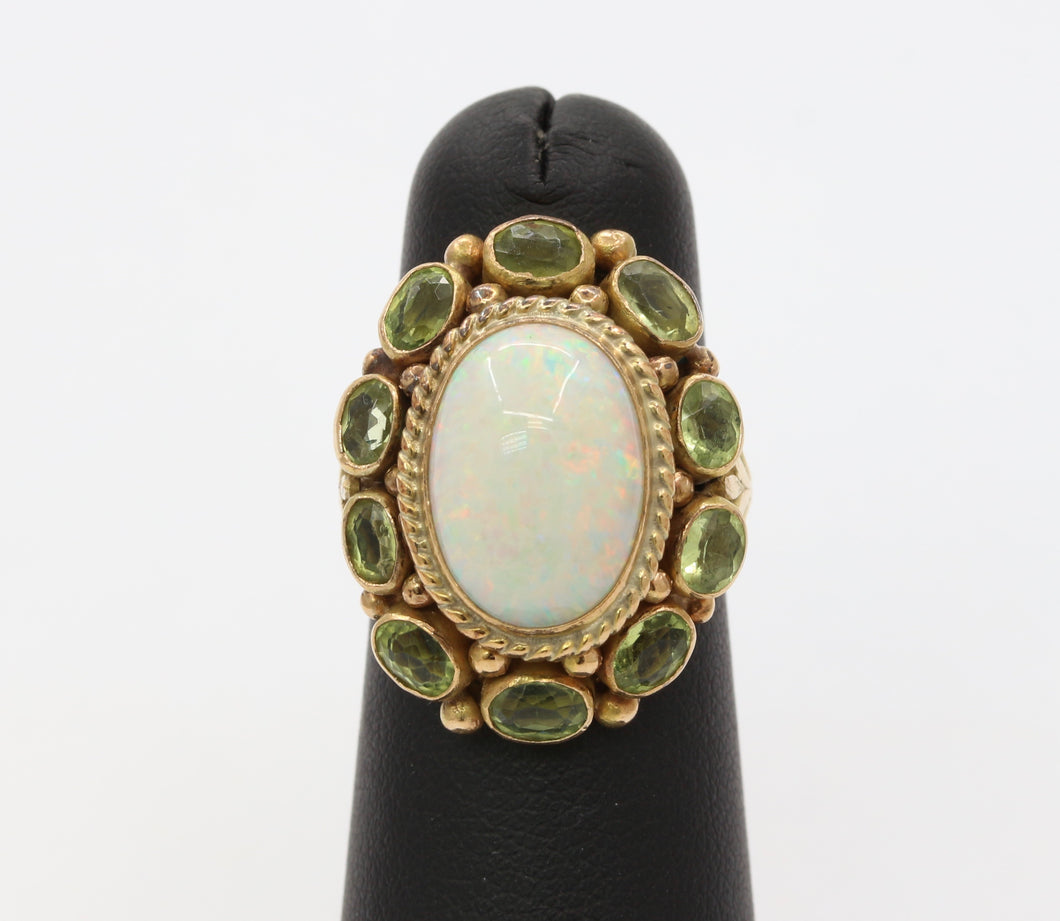 Vintage Australian Opal and Peridot Halo 14K Gold Ring