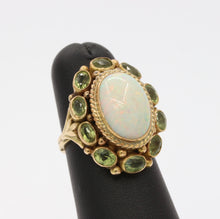 Load image into Gallery viewer, Vintage Australian Opal and Peridot Halo 14K Gold Ring