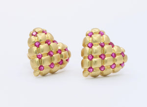 Vintage 18K Gold and Natural Ruby Quilted Heart Clip Earrings