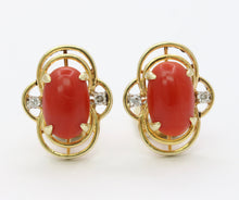 Load image into Gallery viewer, Vintage Oxblood Red Coral and Diamond 14K Gold Clip Earrings
