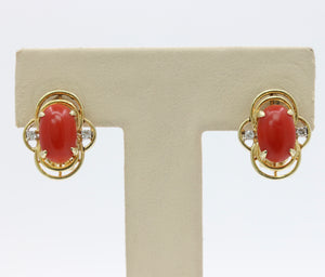 Vintage Oxblood Red Coral and Diamond 14K Gold Clip Earrings