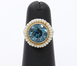 Art Deco Blue Zircon and Opalescent White Bead 14K Gold Filigree Ring
