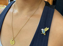 Load image into Gallery viewer, E. Wolfe & Co 18K Gold Diamond and Blue Topaz Bird Pin