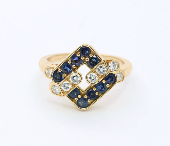 Vintage Mauboussin Sapphire and Diamond Geometric 18K Gold Ring