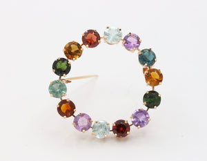 Vintage 18K Gold and Multicolor Gemstone Circle Harlequin Brooch