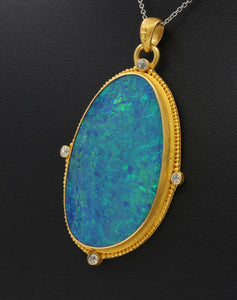 Large Statement Australian Boulder Opal and 22K Gold Diamond Pendant
