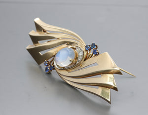 Retro Tiffany & Co Moonstone Sapphire and Diamond 14K Gold Abstract Brooch