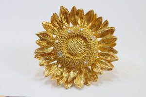 Asprey Sunflower 18K Gold and Diamond Brooch Pendant