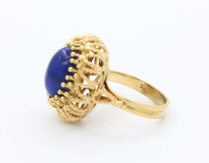 Vintage Italian 18K Gold and Lapis Lazuli Ring