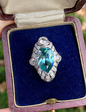Load image into Gallery viewer, Edwardian GIA 9 Carat Blue Zircon and 1.3 Carat Diamond Platinum Navette Ring