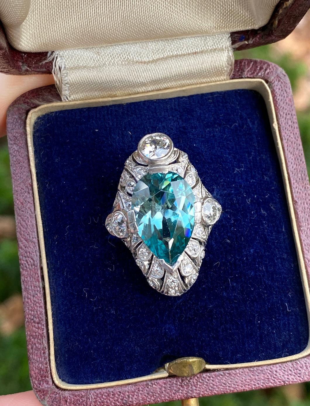 Edwardian GIA 9 Carat Blue Zircon and 1.3 Carat Diamond Platinum Navette Ring
