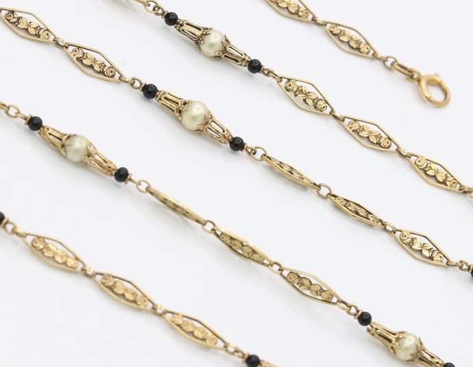 Antique 8K Gold Rose Filigree White Bead & Onyx Chain Necklace