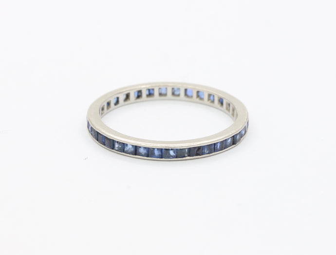 Vintage Platinum and Natural Sapphire Size 8.5 Eternity Band Ring