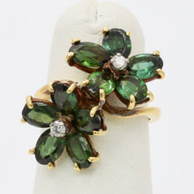 Load image into Gallery viewer, Vintage Green Tourmaline and Diamond Flower 18K Gold Bypass Ring