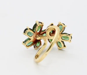 Vintage Green Tourmaline and Diamond Flower 18K Gold Bypass Ring
