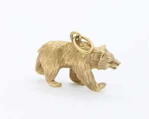 Vintage 18K Gold Grizzly Bear Charm Pendant