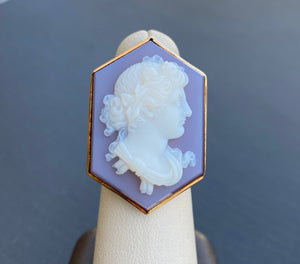 Large Victorian 14K Gold Hexagonal Hardstone Cameo Statement Ring