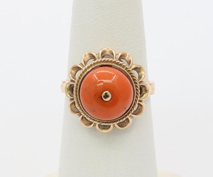 Antique 14K Gold and Natural Coral Ring