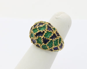 Vintage 1970s Blue and Green Enamel 18K Gold Dome Shaped Statement Ring