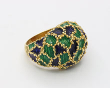 Load image into Gallery viewer, Vintage 1970s Blue and Green Enamel 18K Gold Dome Shaped Statement Ring