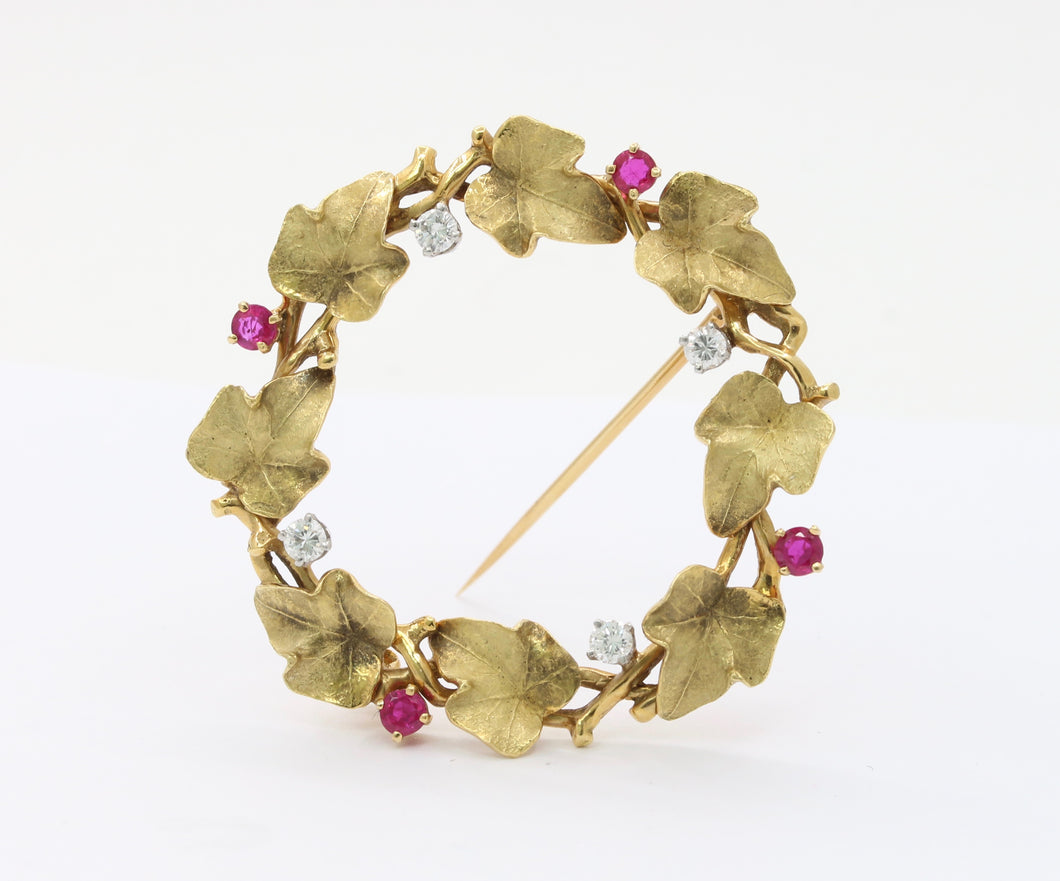 Vintage 18K Gold Ruby and Diamond Ivy Wreath Circle Brooch Pin